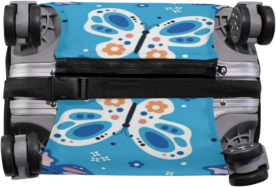 Travel Luggage Cover Beautiful Butterfly Pattern Blue Suitcase Protector