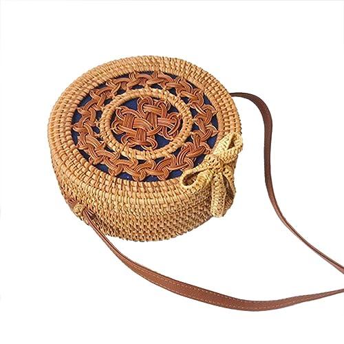 Bolsas redondas de paja Mujeres Verano ratán bolsa tejida a mano playa cruzada cuerpo bolso círculo Bohemia bolso Bali