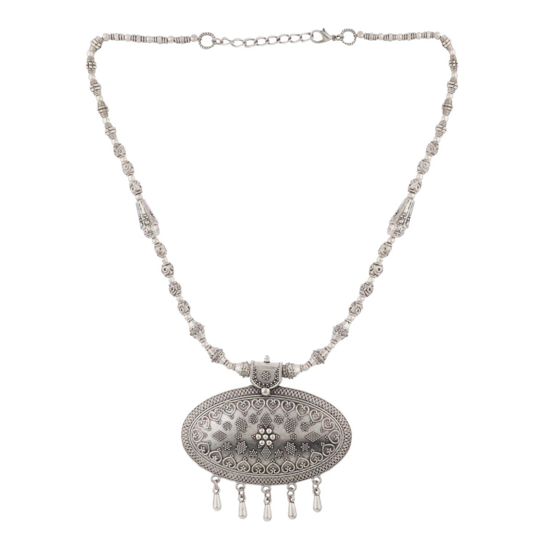Efulgenz Boho Vintage Antique Ethnic Gypsy Tribal Indian Oxidized Silver Beaded Statement Pendant Necklace Jewelry Jaipur Art Jewellery MNT325