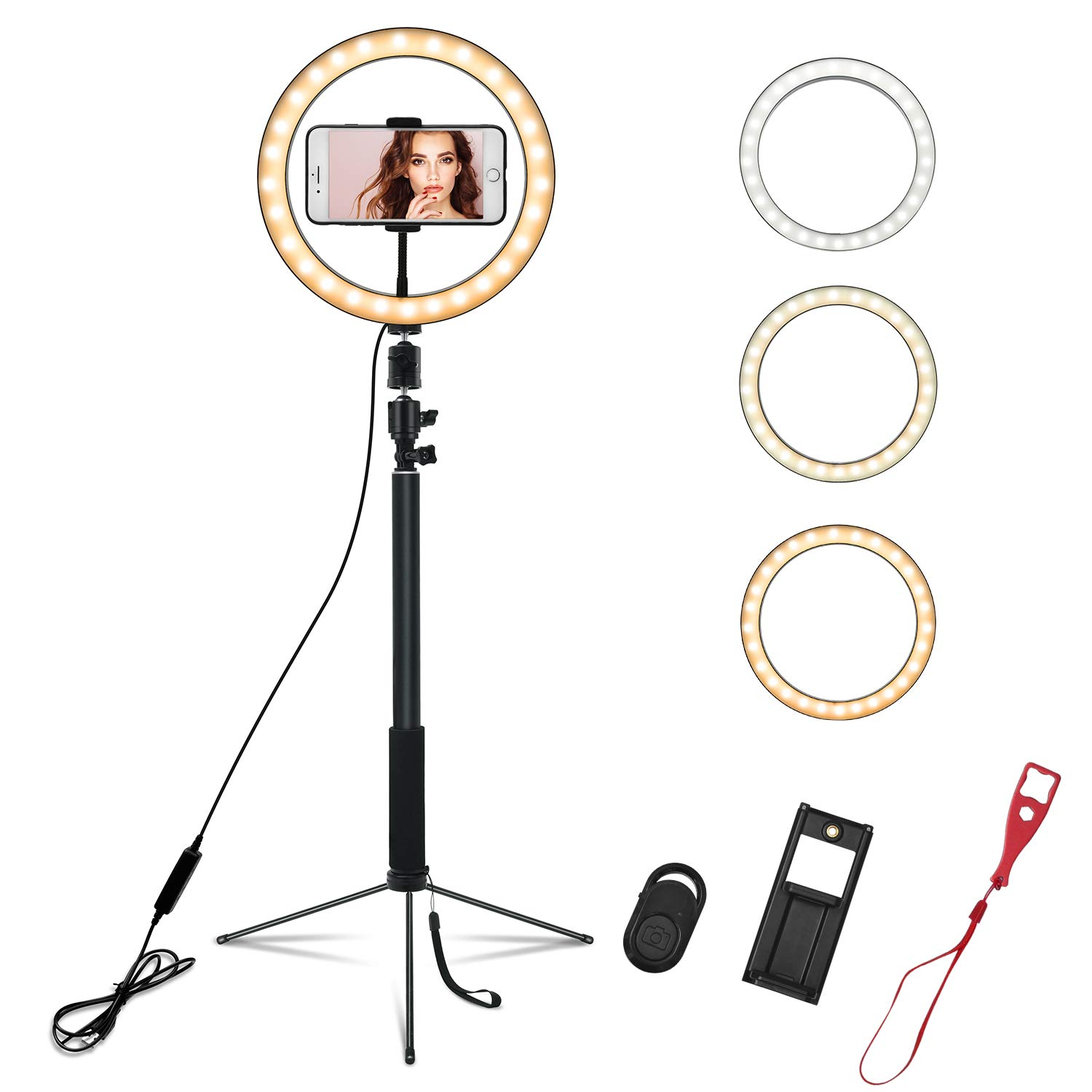 LED Ring Light 10'' with Tripod Stand & Phone Holder, Ring Light Kit for Selfie Live Streaming & YouTube Video Makeup, LED Camera Light with 3 Light Modes & 10 Brightness Level for iPhone Android