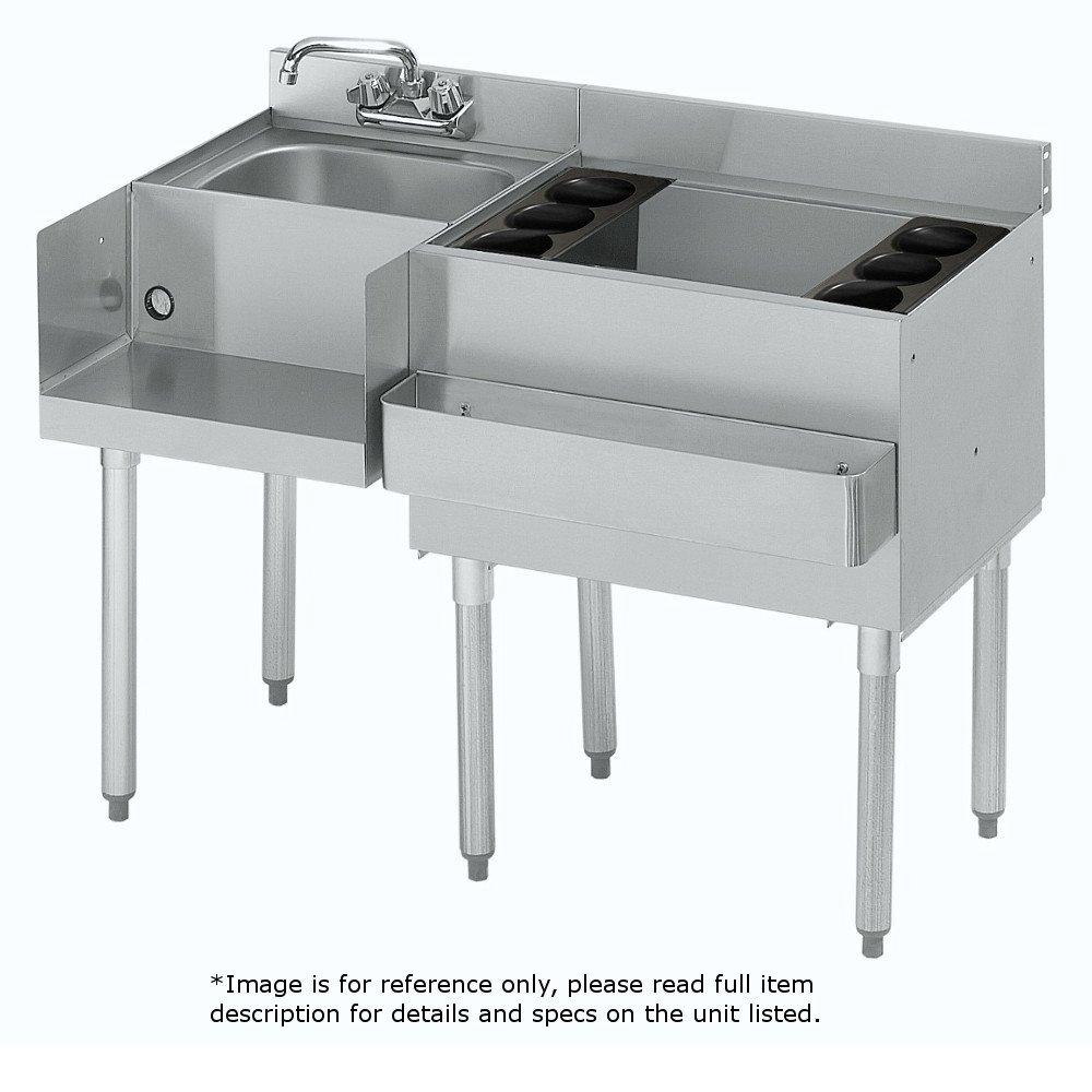 Krowne Metal 18-W48R-7 1800 Series Underbar Ice Bin/Cocktail & Blender Station 48''W x 22.5''D w/ 30''W 7-Circuit Cold Plate Ice Bin on Right