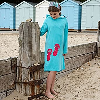 5e438374b27 Mitty James Long Hooded Kids Towelling Beach Robe -Turquoise beach huts 2-3  yrs  Amazon.co.uk  Clothing