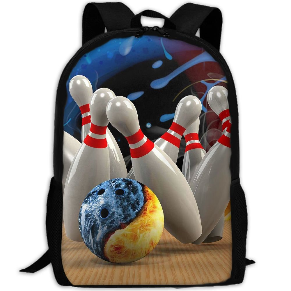 Backpack Play Bowling Print Fashion College Double Shoulder Bag Travel Outdoor Camping Crossbody Bags for Men Women Phyllis Walker