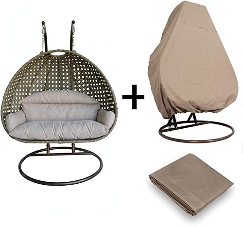 LeisureMod Wicker Hanging 2 Person Egg Swing Chair with Outdoor Cover Beige