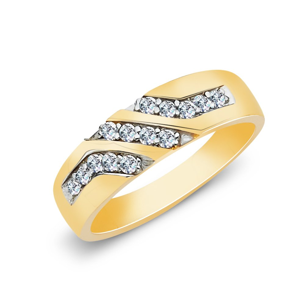14K Solid Gold Two Tone Gold CZ Mens Band Ring Ioka