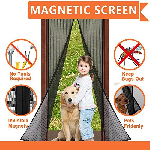 "Magnetic Screen Door. Fits Door Openings up to 34""x82"" MAX , Reinforced With Full Frame Velcro..."