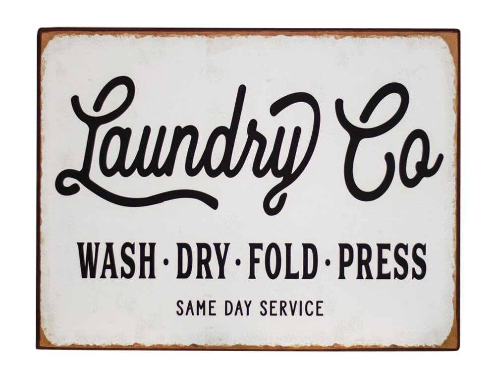 Laundry Co. Distressed Vintage Farmhouse Metal Sign Laundry Room Decor