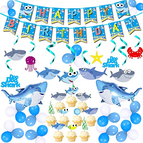 (67 Pack Cute Shark Party Decorations for Boys Shark Happy Birthday Banner Shark Party Swirl Decorations Cute Shark Whirl Streamers Hanging Swirl Ceiling Decorations Mini Shark Balloons Shark Cake Topper)