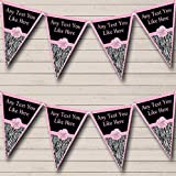 pink and zebra party streamers - Zebra Print Pale Pink Bow Personalized Birthday Party Bunting Banner Garland
