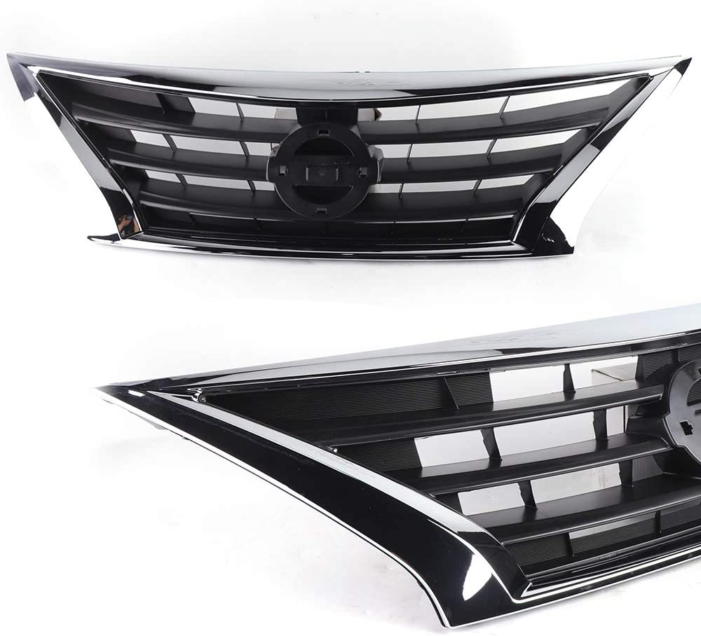 Front Bumper Upper Hood Grill Chrome Fit For Nissan Versa Sedan 2015-2017