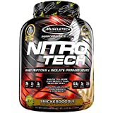 MuscleTech NitroTech Protein Powder Plus Muscle Builder, 100% Whey Protein with Whey Isolate, Snickerdoodle, 40 Servings (4lbs)