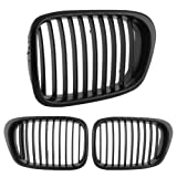 1Pair Front Black Wide Kidney Hood Grille For BMW