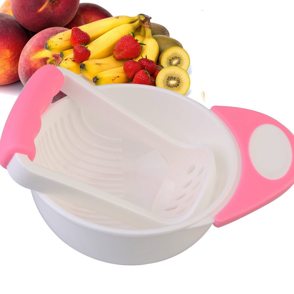 Candora Baby Food Masher and Bowl Mash and Serve Bowl for Making Homemade (Pink)