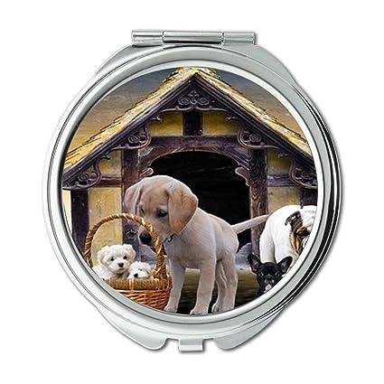 Espejo compacto, espejo de animales, perros, cachorros, perro, caseta de perro
