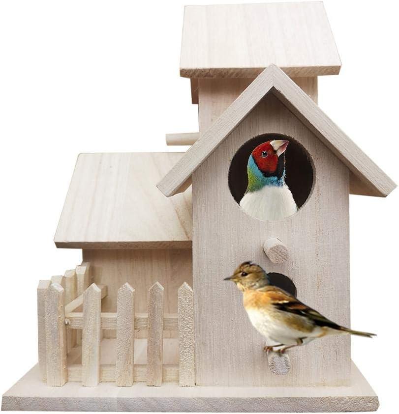 tidystore DIY Casa De Aves Colgante Alimentación Al Aire Libre Casitas para Pájaros con Gancho Metálico Material Ecológico Uso para Jardín Balcón De Casa Ventanas