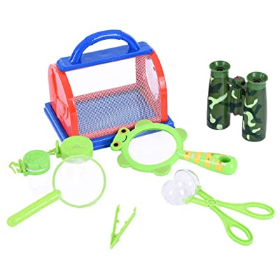 C-Easy Nature Bound Bug Catcher Bug Bucket Kit Bug Catcher Kit 8 Piece Bug Catching Set Critter Case Bug Bungalow Insect Catching Kit Toys Critter Cage Bug Catcher Storage for Kids: Pet Supplies