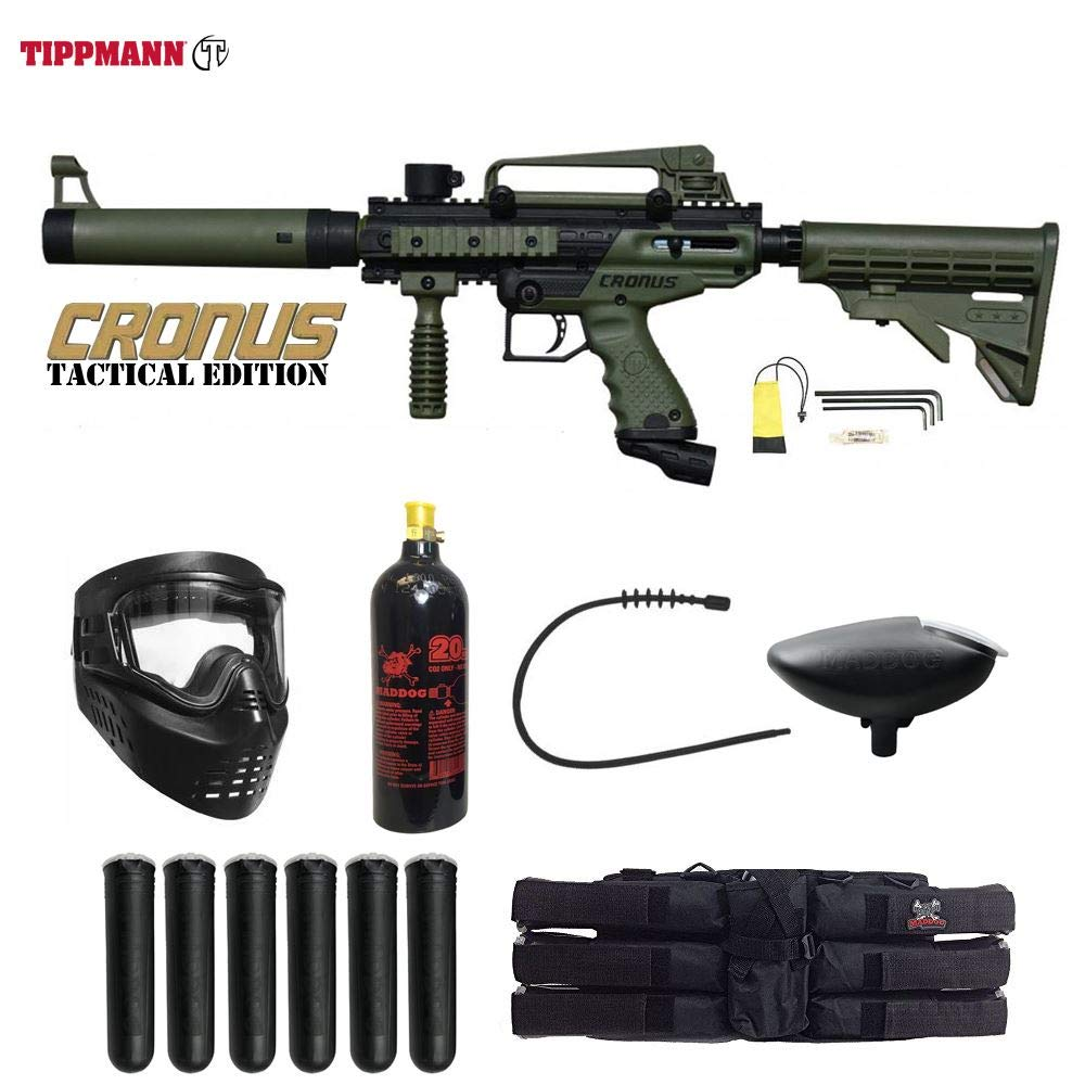 MAddog Tippmann Cronus Tactical Paintball Titanium Paintball Gun Package - Black/Olive by Maddog