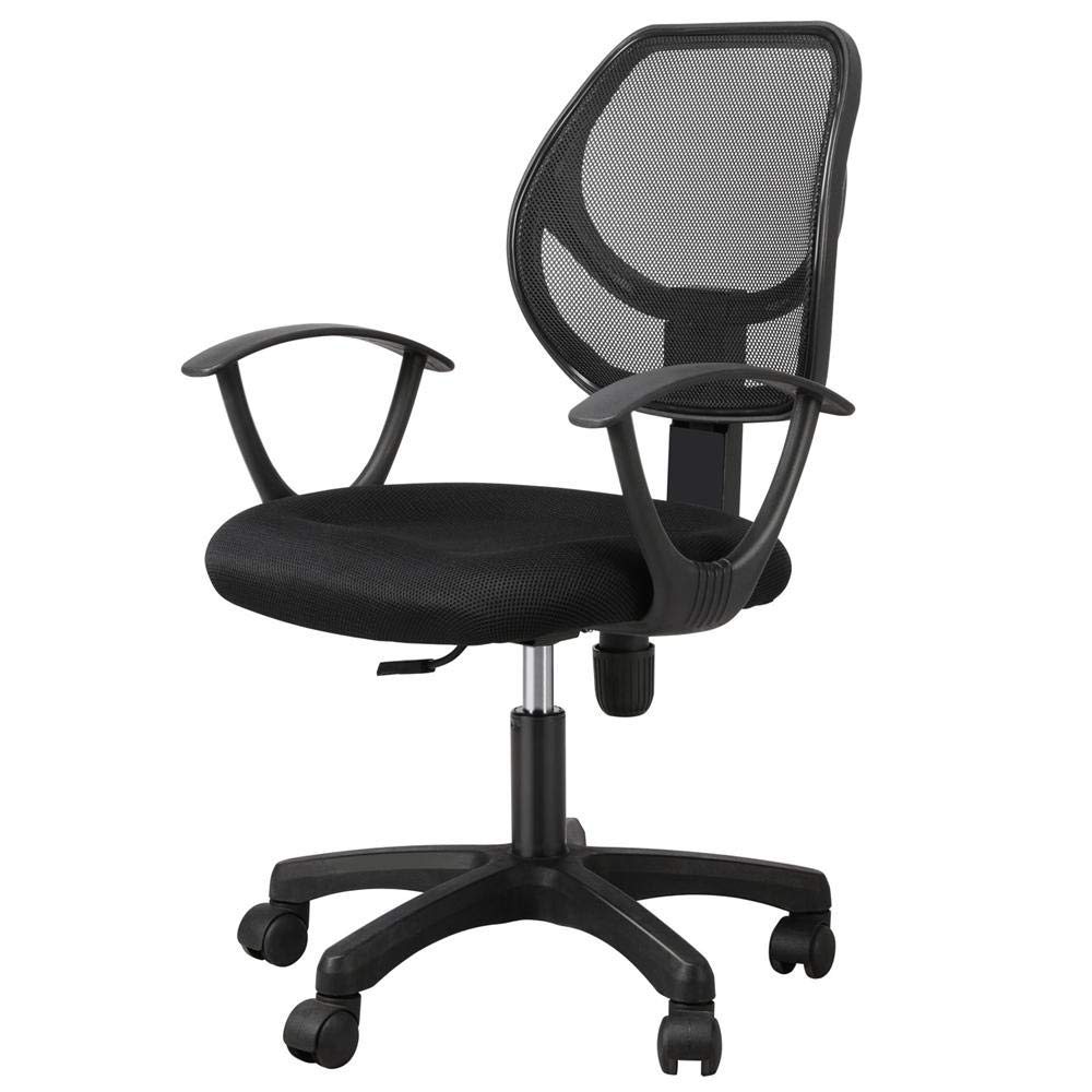 Yaheetech Desk Chiar Office Chair Ergonomic Mid-Back Mesh Computer Chair Height Adjustable with Armrest Swivel Office Chair Lumbar Support Swivel Chair (Black) by Yaheetech (Image #1)