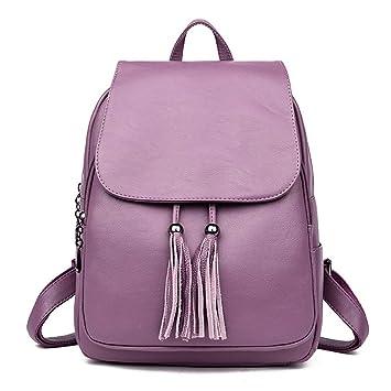 OPmeA Mochila para Mujer Bolsos Casuales de Gran Capacidad Bolsa de Viaje de Cuero Suave y Salvaje Mochila (Color : Purple): Amazon.es: Hogar
