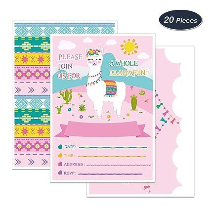 Amazon Com Wernnsai Llama Party Invitations With Envelopes 20 Set