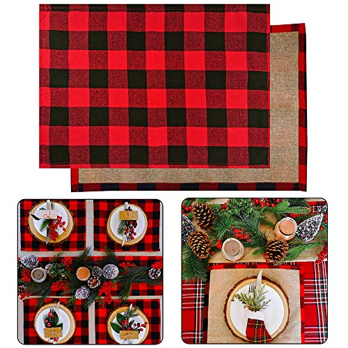 """4 Set Red and Black Placemats Buffalo Check Plaid Table Placemats Double Sided Cotton and Burlap Place Mats Washable for Holiday Christmas Thanksgiving Kitchen Table Setting Decorations 20"""" L x 14"""" W"""