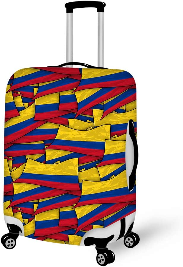 Colombia Flag Wave Washable Foldable Luggage Cover Protector Fits 18-21Inch Suitcase Covers