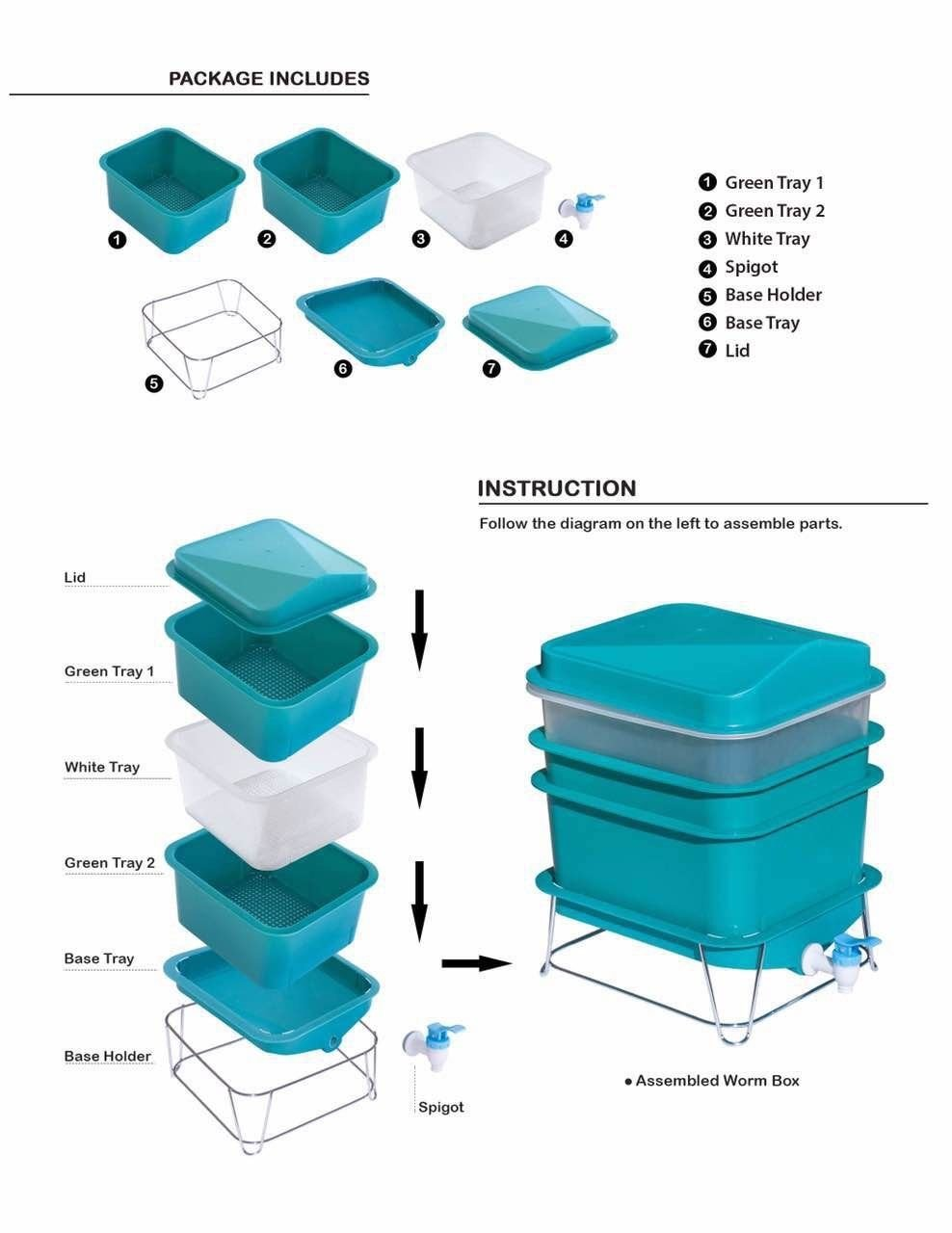 4-Tray Worm Factory Farm Compost Small Compact Bin Set by Quest (Image #7)