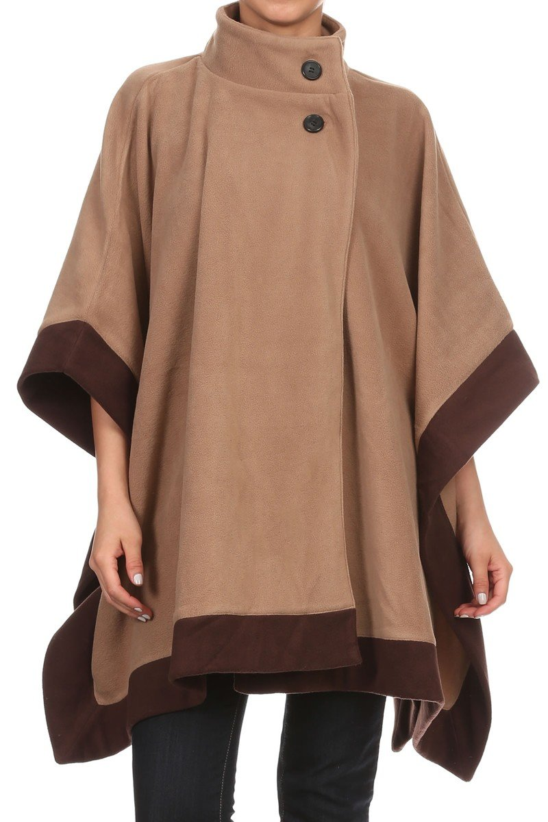 LL Womens Camel and Brown Edge Open Front Button Poncho Fleece