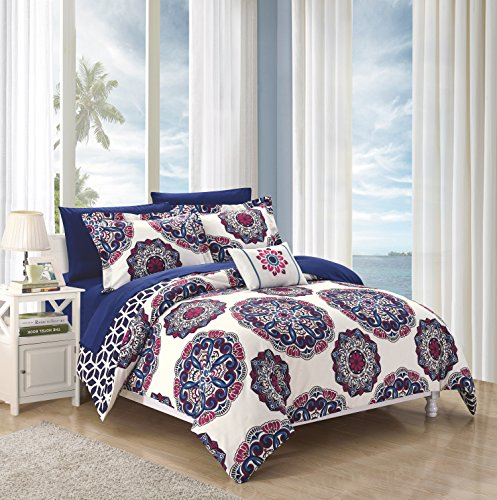 Chic Home 8 Piece Barcelona Super Soft microfiberREVERSIBLE King Bed In a Bag Comforter Set Navy With sheet set ()