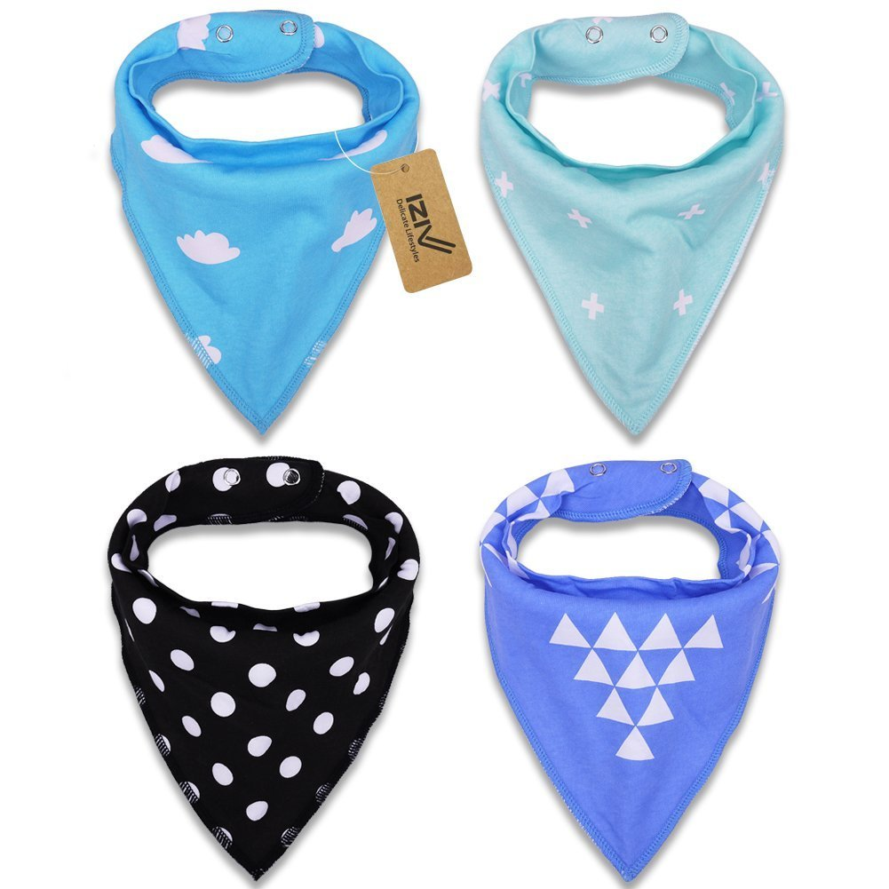 iZiv 4 PACK Baby Bandana Drool Bibs with Adjustable Snaps, Absorbent Soft Cotton Lining 0-2 Years (Color-4) Dlife TZN15
