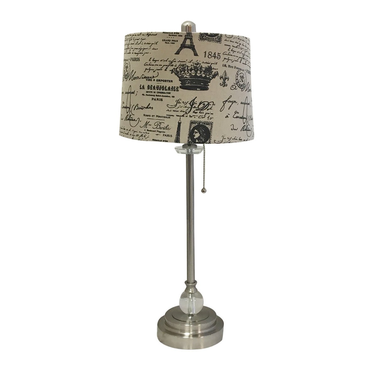 Royal Designs 28'' Crystal and Brushed Nickel Lamp with Eggshell and Black Vintage French Print Drum Hardback Lamp Shade