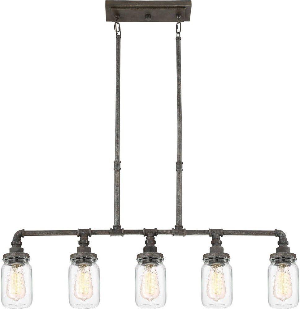 "Quoizel SQR538RK Squire Industrial Rustic Chandelier, 5-Light, 500 Watts, Rustic Black (19""H x 38""W)"