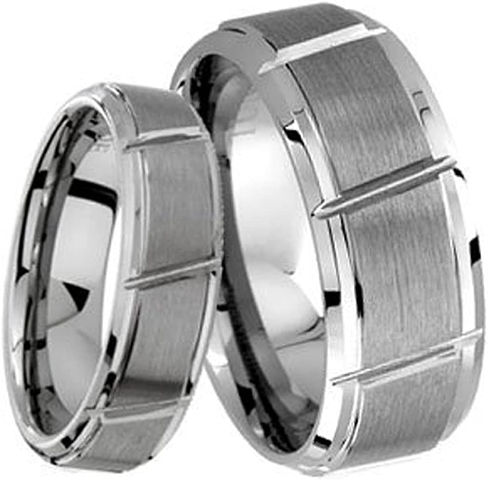 Men /& Ladies 8MM//6MM Brushed Center With Grooved Cut Tungsten Carbide Wedding Band Ring Set