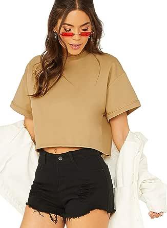 SweatyRocks Women's Mock Neck Short Sleeve Crop Casual Tee Shirts Tops