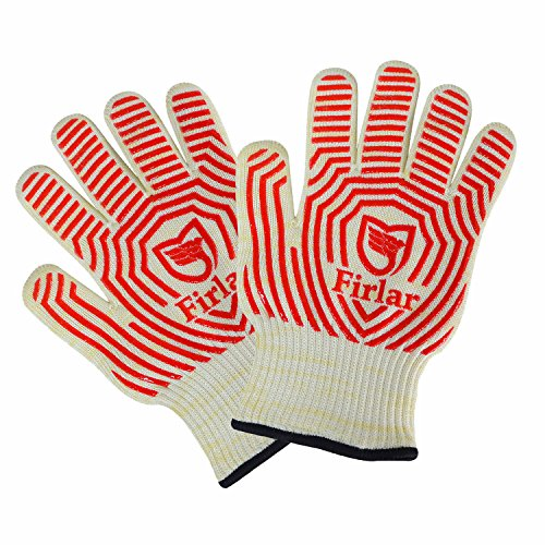 Firlar 932°F Extreme Heat Resistant Oven Gloves One Size Fit Most-- EN407 Certified BBQ Gloves For Cooking, Grilling, Baking (Le Creates Small Dutch Oven compare prices)