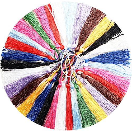White Silk Tassel (Color Scissor 100 Piece Mini Silk Tassels With Cord Loops For Jewelry Making, Bookmarks, DIY Craft, 13cm /5 Inch, 10 Color)