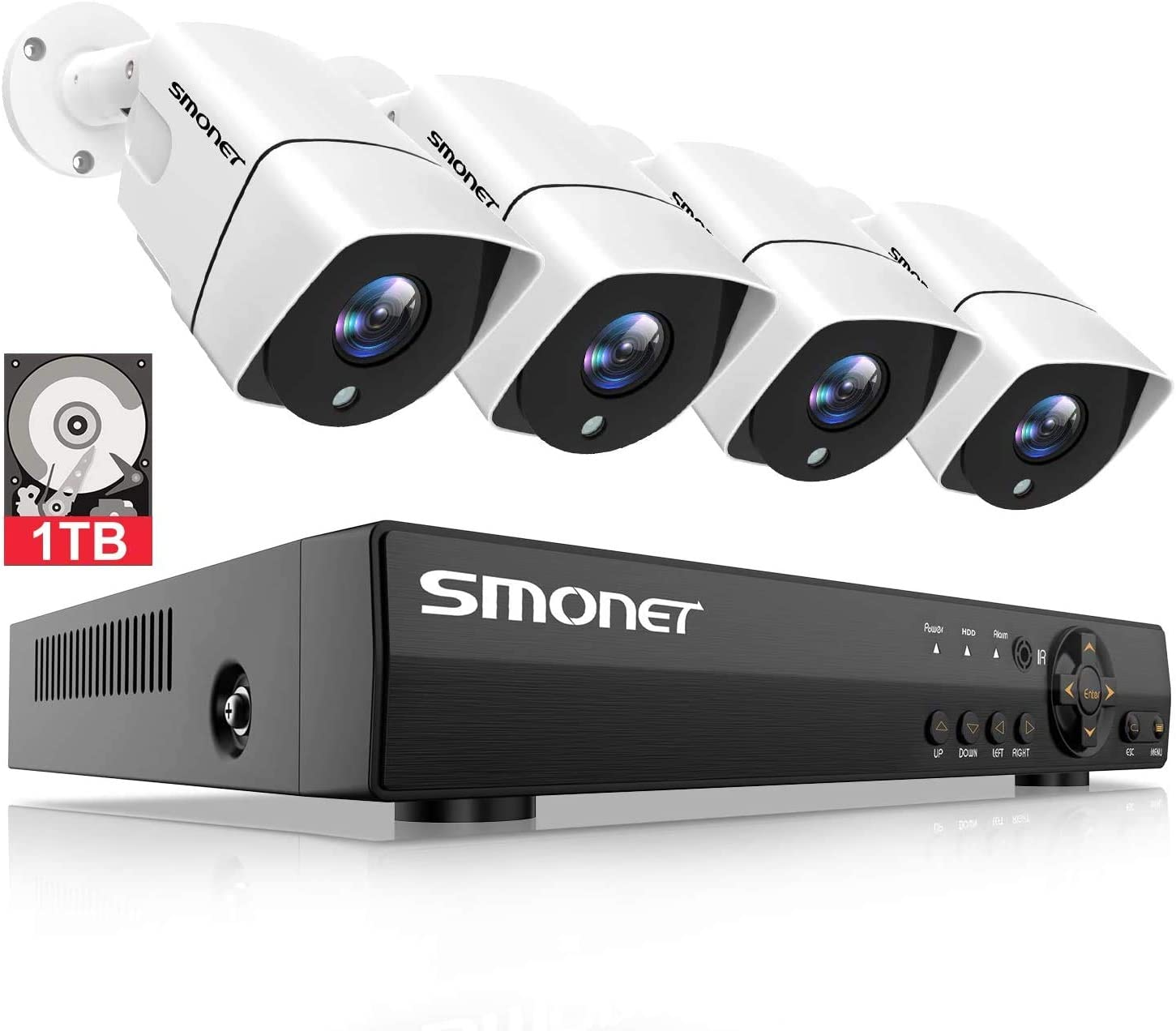 Full HD Security Camera System 1080P,SMONET 4 Channel Home Security Camera System 1TB Hard Drive ,4pcs 2MP Outdoor Cameras,Super Night Vision,P2P,Easy Remote View,Free APP,NO Monthly Fee