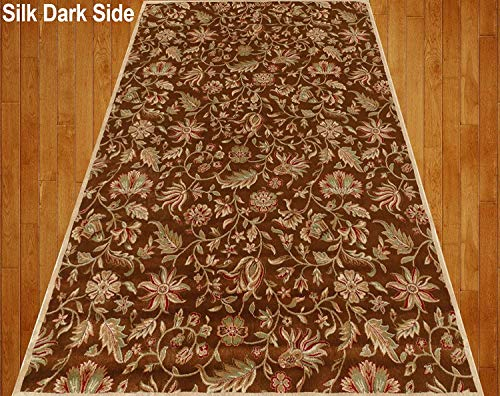 Home Must Haves Silky Beige Cream Brown Red Green Traditional Persian Floral Faux Silk Rug Carpet, 4'x6' Feet,