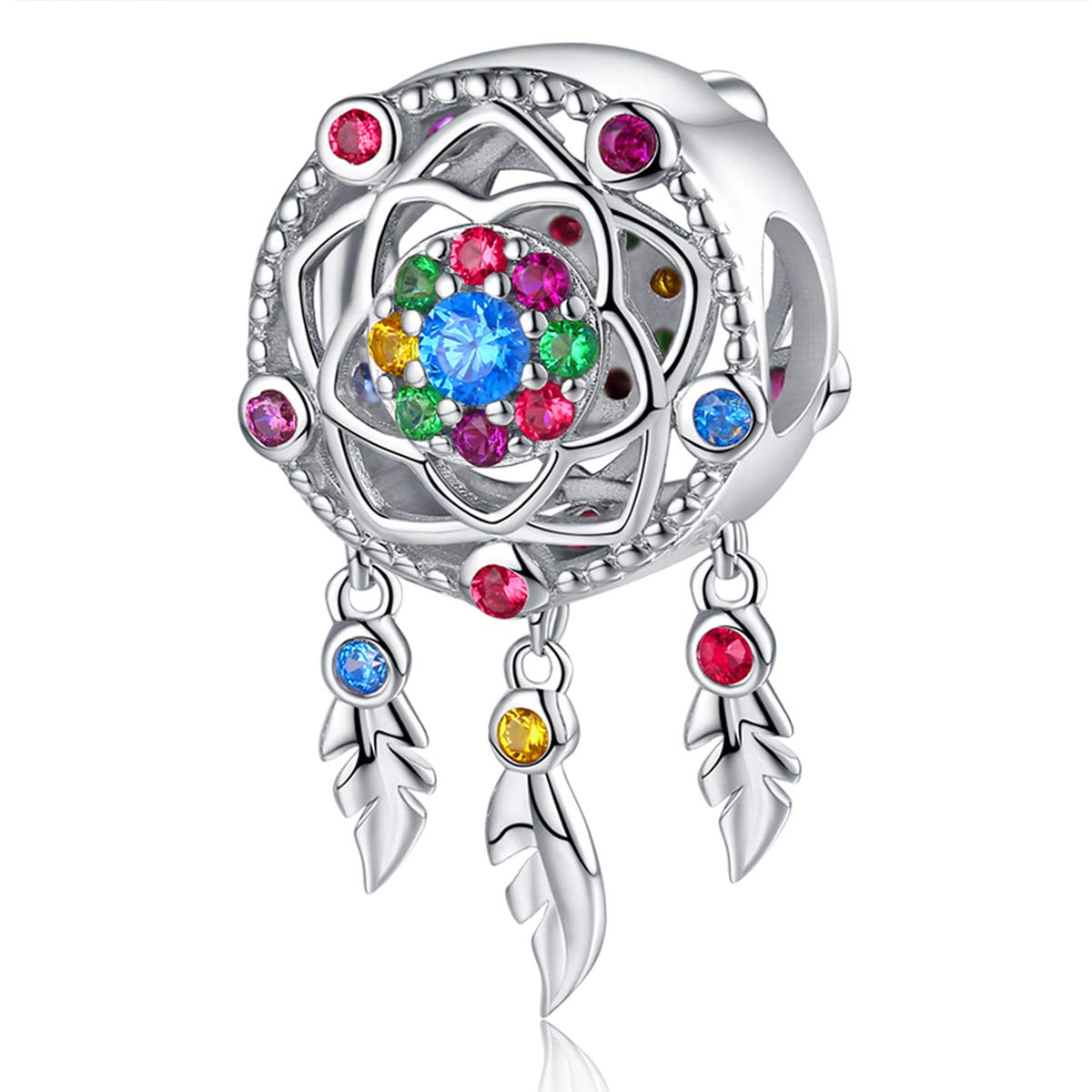 Dream Catcher Charm fit Pandora Charms Bracelet 925 Sterling Silver Feathers Tassel Bead Charm with Colorful Stones Pendant for European Bracelets Necklace FQ0047 (Dream Catcher Charm Colorful) by FOREVER QUEEN