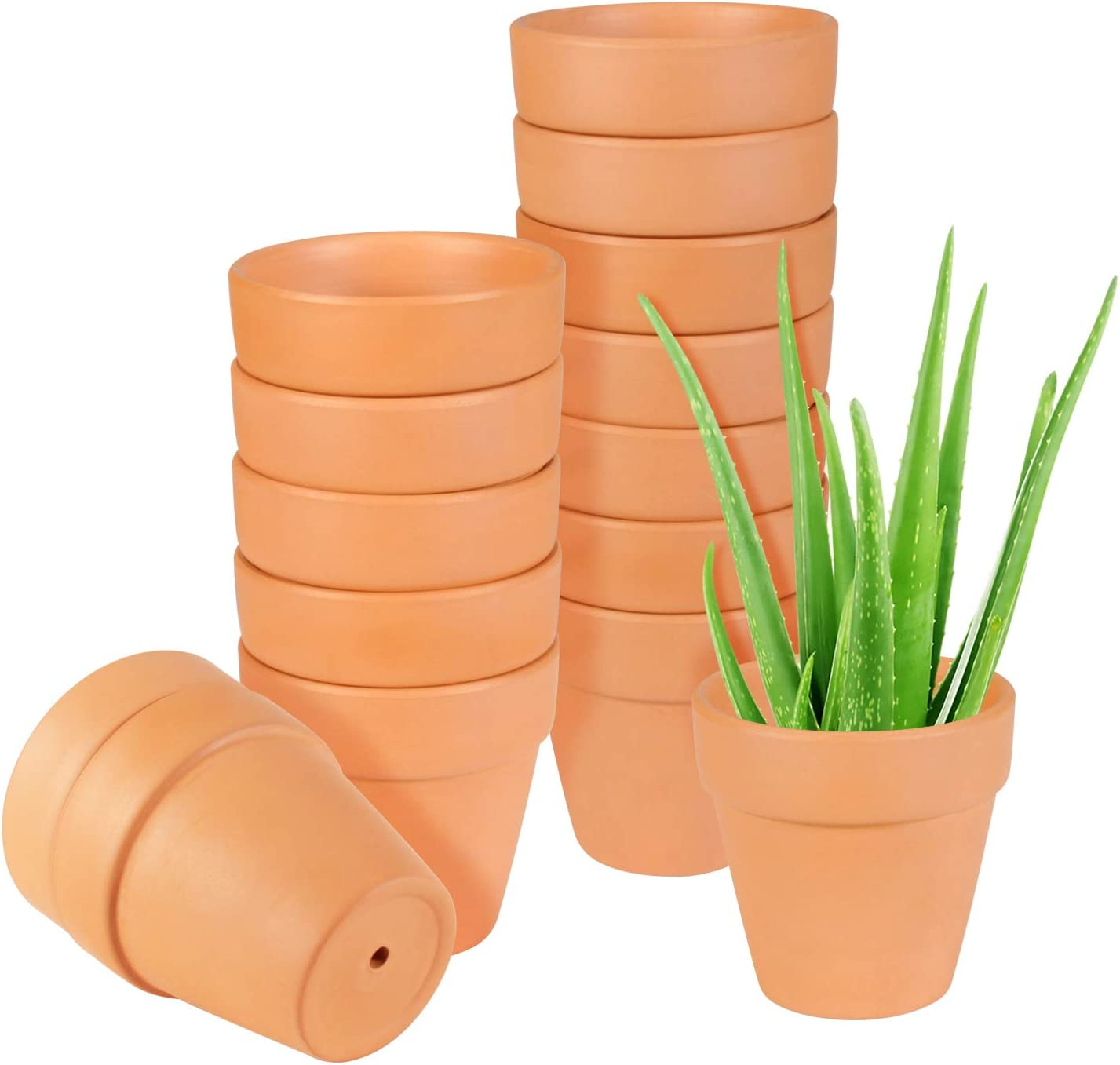 Clay Pots, EHWINE 3 inch Clay Pots for Plants Mini Cute Garden Pots Succulent Planters Small Cactus Flower Pots with Drainage, Pack of 15(Plants Not Included)