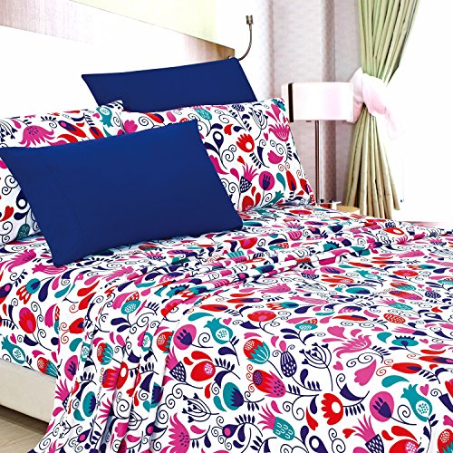Funky Sheet Sets (American Home Collection Deluxe 6 Piece Printed Sheet Set Highest Quality Of Brushed Fabric, Deep Pocket Wrinkle Resistant - Hypoallergenic (Queen, Funky Flowers))