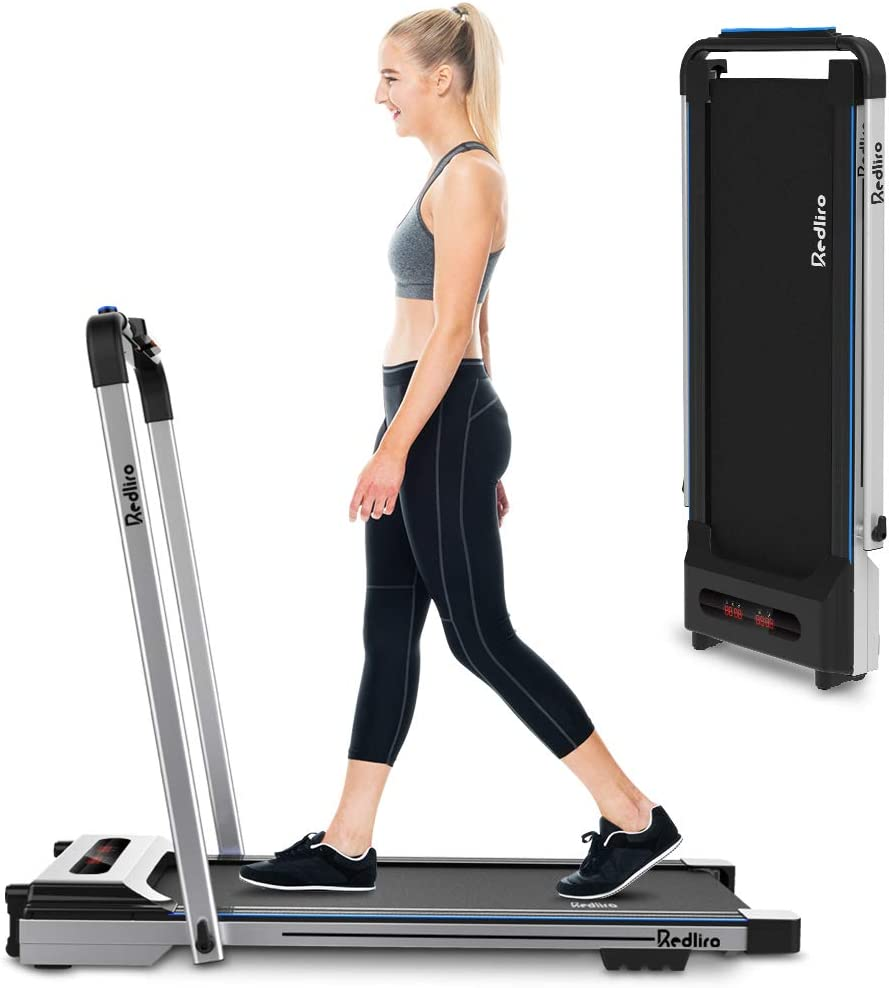 REDLIRO 2 in 1 Folding Treadmill Under Desk Treadmill Portable Space Saving Walking Jogging Machine for Home Office Installation-Free Workout Indoor Exercise LCD Display Remote Control
