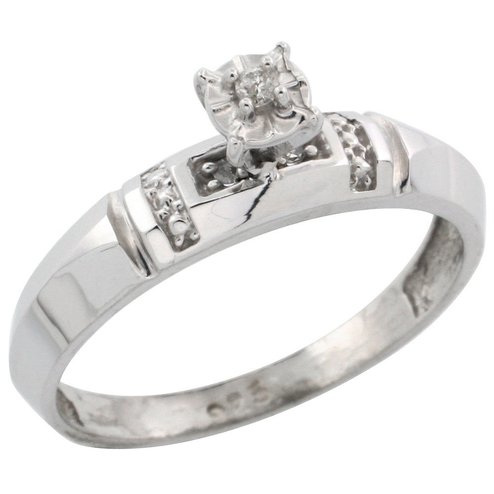 5//32 in. 4mm w// 0.05 Carat Brilliant Cut Diamonds Size 10 Sterling Silver Diamond Engagement Ring wide