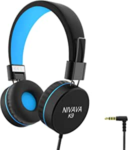 Nivava K9 Kids Headphones for Children Boys Girls Teens Wired 85dB Volume Limited Foldable Lightweight Stereo On Ear Headset for iPad Cellphones Computer MP3/4 Kindle Airplane School (Black&Blue)
