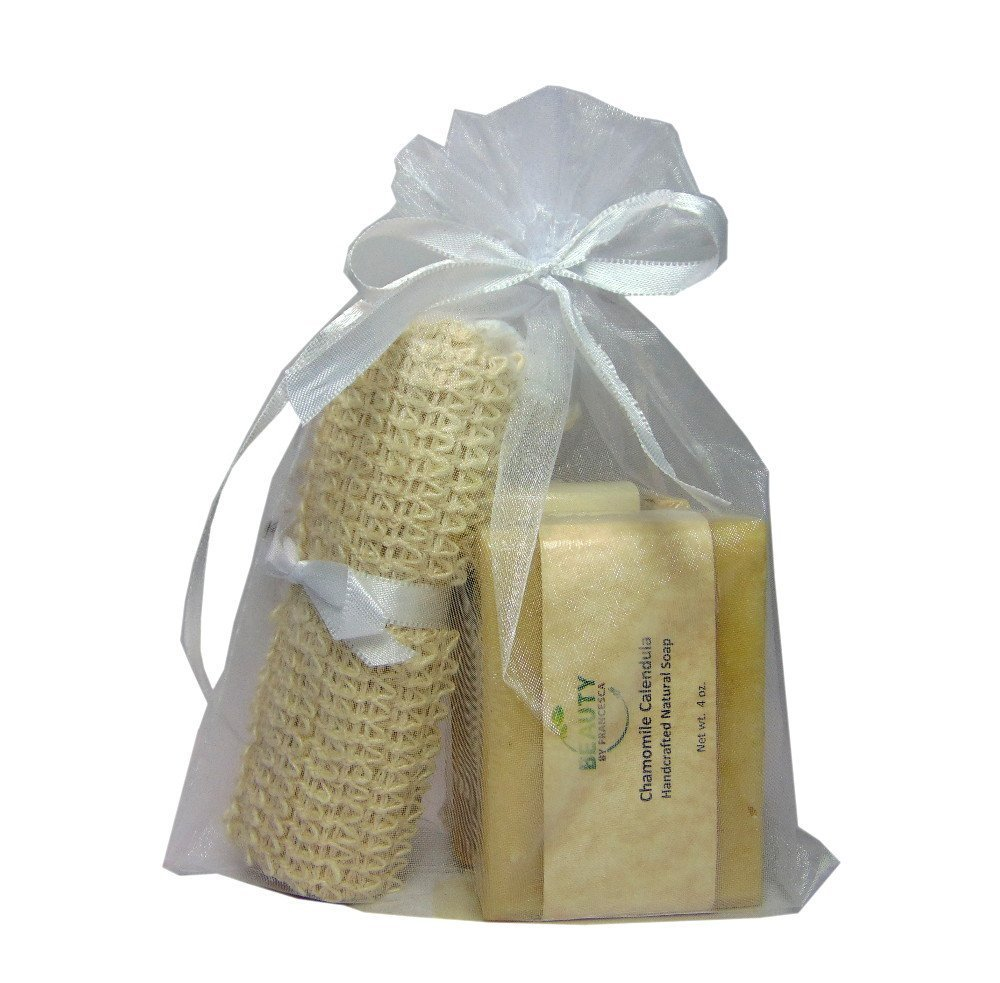 Handmade Soap Gift Set - 2 Full Size Bars and Sisal Soap Pouch in Organza Bag by Beauty By Francesca