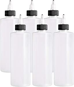 ljdeals 8 oz Plastic Squeeze Bottles, Natural Cylinder Bottles with Twist Top Caps, Pack of 6, BPA Free, Made in USA