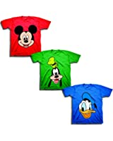 Disney Toddler Boys' Mickey, Goofy, Donald 3-Pack T-Shirts