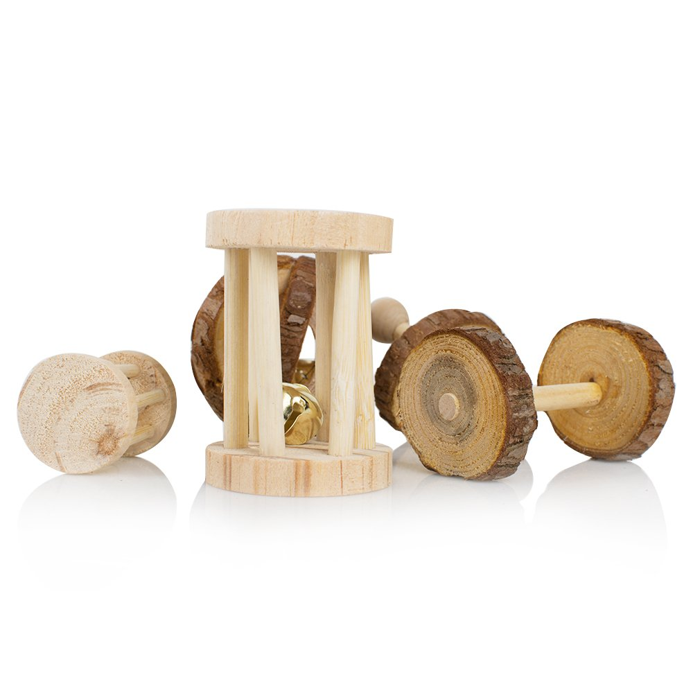 Pack of 5 Hamster Chew Toys - Natural Wooden Pine Dumbells Exercise Bell Roller Teeth Care Molar Toy For Rabbits Rat Guinea Pig And Other Small Pets Play Toy by Pevor (Image #2)