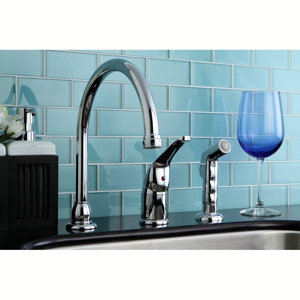 Kingston Brass KB828 Kitchen Faucet with Sprayer, Satin Nickel ...