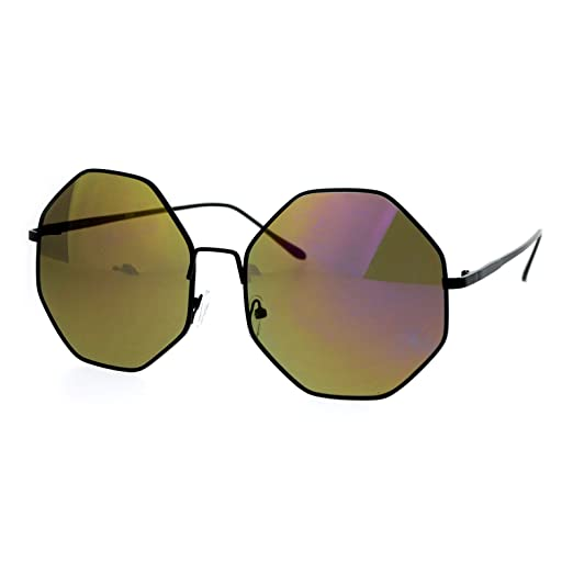 2410119f3b9 Oversized Octagon Shape Sunglasses Womens Shades Mirror Lens UV 400 (black  (brown purple mirror